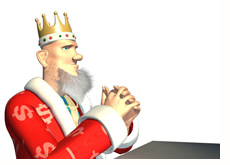 -- poker king in the thinking pose --