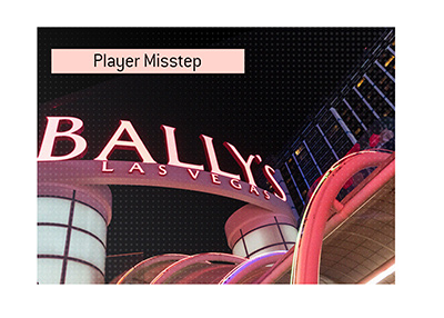 Poker player makes a mistake at the Ballys Casino in Las Vegas.