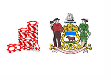 Delaware - Online Gambling - Casino Chips - Coat of Arms and Illustration