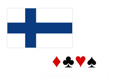 Flag of Finland next to poker card symbols in 3d