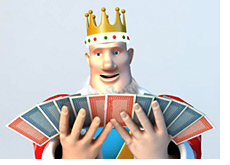 king is looking at playing cards - looks surprised