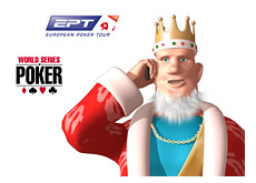 -- poker king on his cellphone receiving news about ept and wsop --