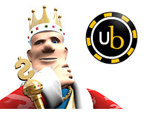 the king of poker is waiting for the news from ultimate bet - standing right next to the ultimatebet logo - his hand on his chin