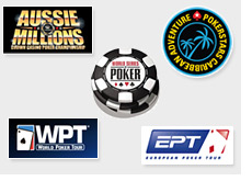 aussie millions, world series of poker, european poker tour, world poker tour, caribbean adventure - poker tournament logos