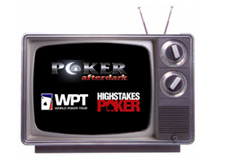 old tv set - poker after dark  - world poker tour - high stakes poker - logos