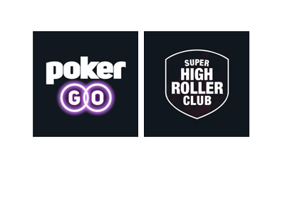 Poker GO - Super High Roller Club - Logos on black and white backgrounds.
