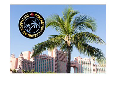 Pokerstars Caribbean Adventure - Logo and hotel complex in the background.
