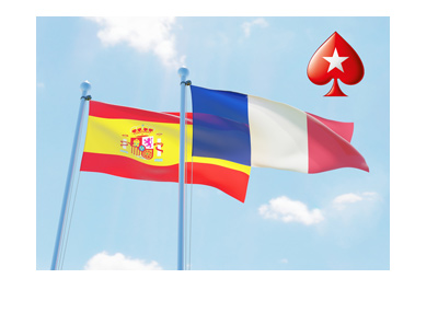 Pokerstars logo with the flags of Spain and France behind.  Sunny day.