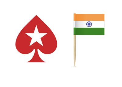 Pokerstars is expanding into India.  Logo next to a flag.
