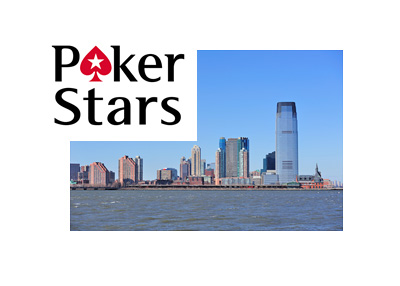 Pokerstars company logo over New Jersey City skyline photo