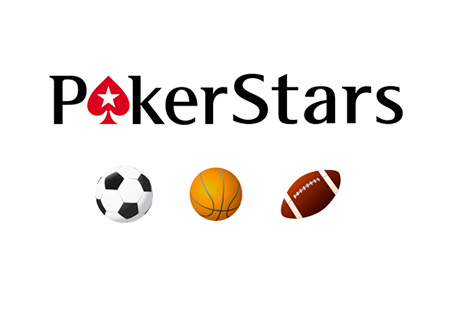Pokerstars Logo next to Sports Betting icons for football, soccer and basketball