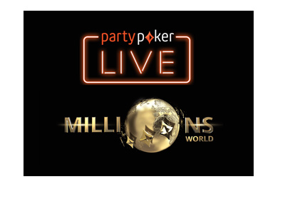 Party Poker Live - Millions World - 2018 Caribbean Poker Party in Baha Mar, Bahamas - Promotional graphic - Black colour background.