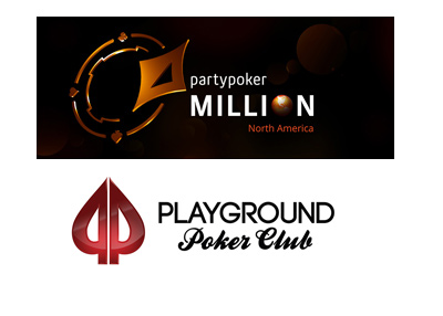 Party Poker Millions North America at the Playground Poker Club - Year 2018 - Logos.