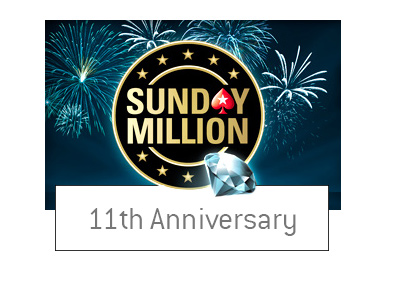 The Pokerstars Sunday Million - Logo with a diamond motif. The 11th anniversary. Year is 2017.