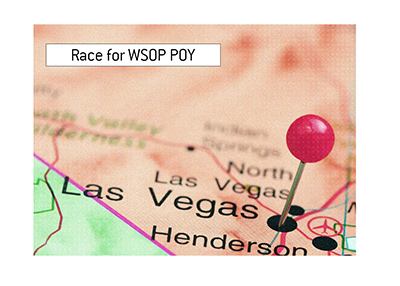 The race for the World Series of Poker Player of the Year is on.  In photo: Las Vegas, Nevada.  On the map.
