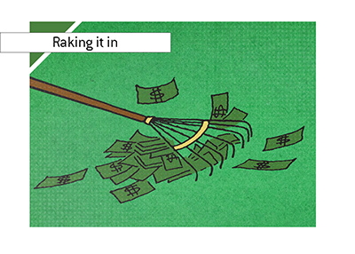 Raking it in. Image to accompany an article about Pokerstars raking it in.  Changes to tournament pricing are paying off.