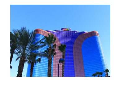 Rio Hotel - Las Vegas - Sunny day.  Palm trees in front.  Frog eye view.
