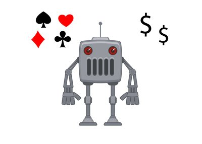 Robot - Cash Poker Player - Illustration, cartoon, attempt at funny.