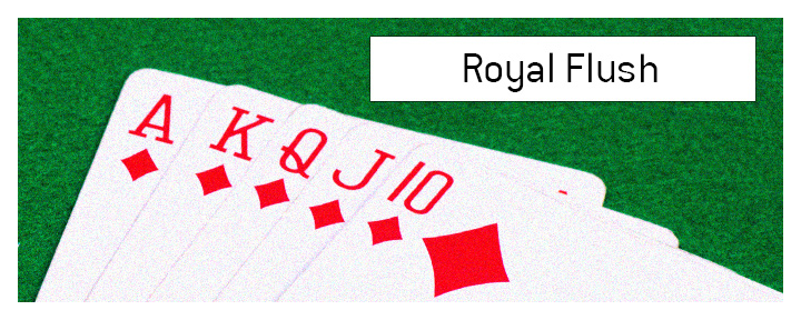 A photo of a Diamond Royal Flush on a green velvet poker table.