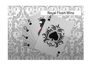 Royal Flush beats all other hands in the game of Holdem Poker.  Illustration.