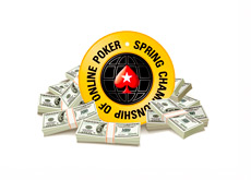 SCOOP - Spring Championship of Online Poker - Logo surrounded by Cash - Illustration