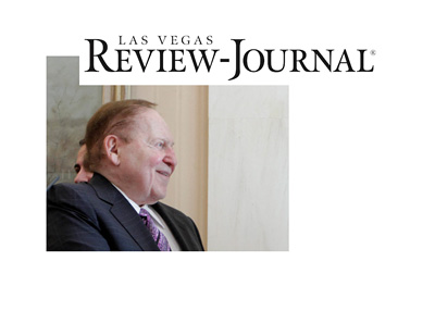 Sheldon Adelson next to Las Vegas Review-Journal logo - Purchase completed.