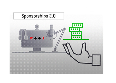 Poker sponsorships have evolved over the years.  Illustration.