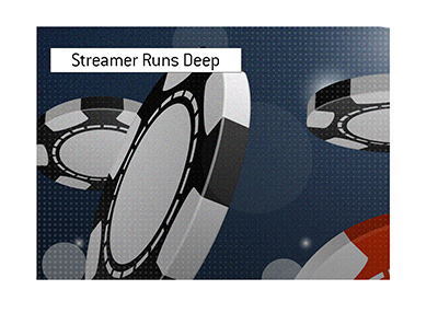 A popular Twitch streamer, Jaime Staples, runs deep in an online tournament.  Records biggest cash.