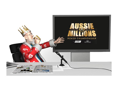 From his TV studio the King reports on the latest news from the Aussie Millions poker tournament, while drinking coffee from a golden mug.