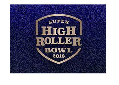 The Super High Roller Bowl 2018 poker tournament at Aria Casino - Logo on blue background.