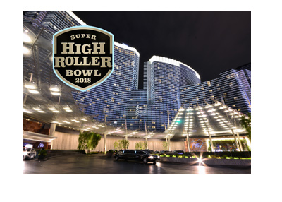 The Super High Roller Bowl 2018 at the Aria Casino in Las Vegas.  Night shot and logo.
