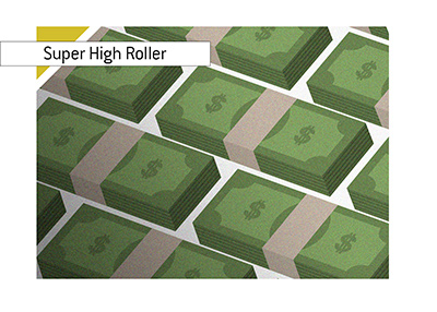 Super High Roller - Flowing dollar bills - Illustration.