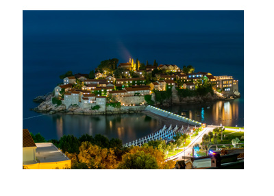 Sveti Stefan - Montenegro - Night shot - Home of Triton - High end cash poker tournament.