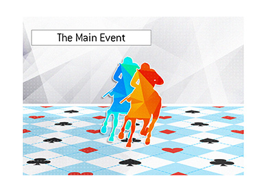 The WSOP main event is very much on.  In 2019 it is a two horse race.  Illustration.