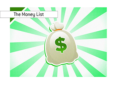 The Poker Money List - Illustration of a money bag over a hypnotic background.