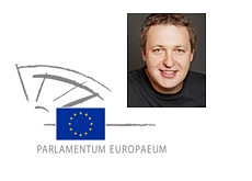 Tony G and the European Parliament logo