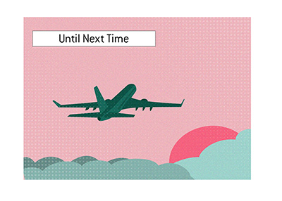Until next year - Plane quietly taking off into the sunset.  Las Vegas.  Illustration.