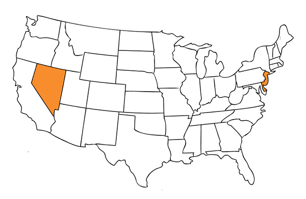 Map of United States of America with three highlighted states: New Jersey, Delaware and Nevada