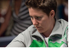 Vanessa Selbst in a gray-green-white Pokerstars tracksuit top