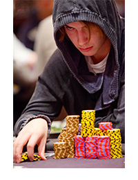 Viktor Blom looking like Darth Vader at the World Series of Poker