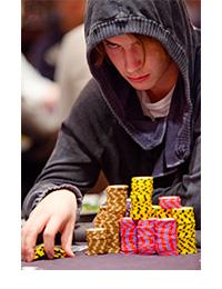 Viktor Blom looking like Darth Vader at the World Series of Poker