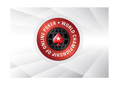 The World Championship of Online Poker over a stylized digital background.  The year is 2018.  Big online tournament by Pokerstars.