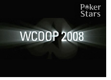 logo - pokerstars & wcoop 2008 - world championship of online poker - black background - light effects