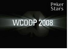 logo - pokerstars & wcoop 2008 - world championship of online poker - black background - light effects