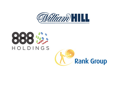 Company logos: William Hill, 888 Holdings and Rank Group Plc.