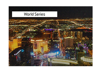 The view of Las Vegas from a helicopter, taken at night.  The WSOP 2019 is on.