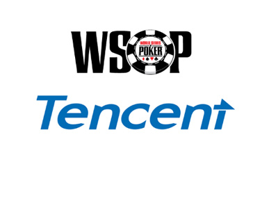 WSOP and Tencent - Logos as they are in year 2017 - White background.