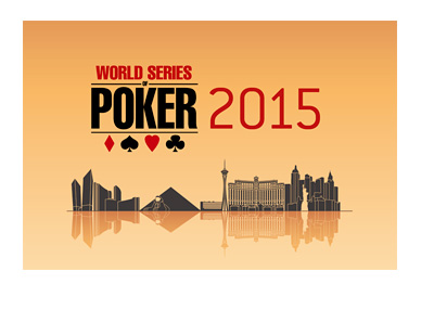 World Series of Poker 2015 - Tournament / Event Logo - Over Las Vegas City Skyline - Orange Background