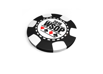 The 3d version of the World Series of Poker 2016 chip.  Black colour.