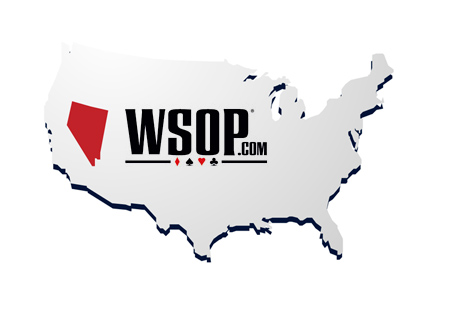 WSOP.com logo on the Map of United States - Nevada Highlighted